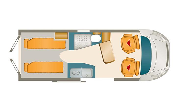 Karmann Dexter 570 grondplan